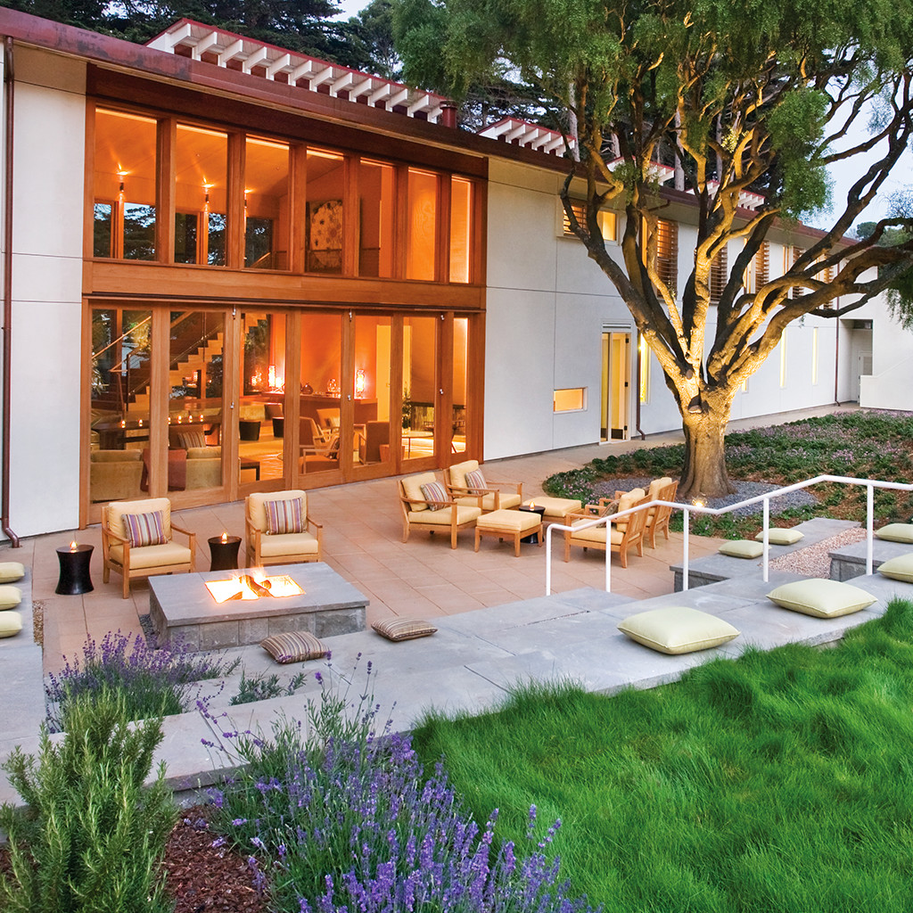 Outdoor patio of Cavallo Point Lodge